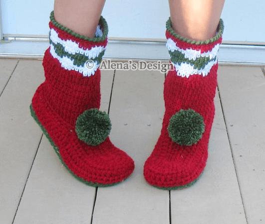 Women's Christmas Slipper Boots Crochet Pattern by Alena's Design