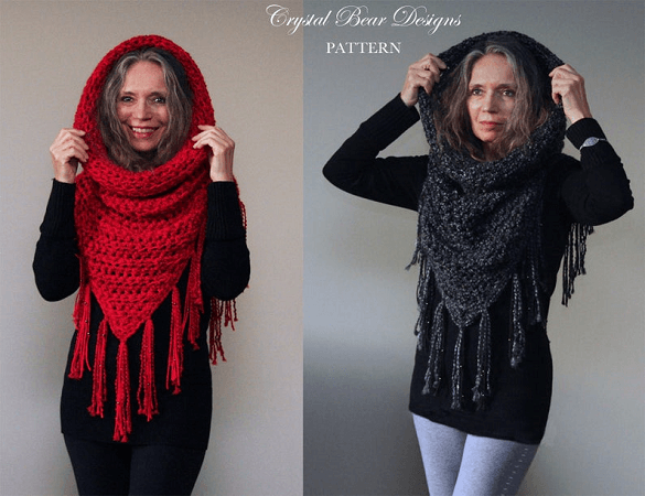 Athena Hooded Cowl Crochet Pattern by Crystal Bear Designs