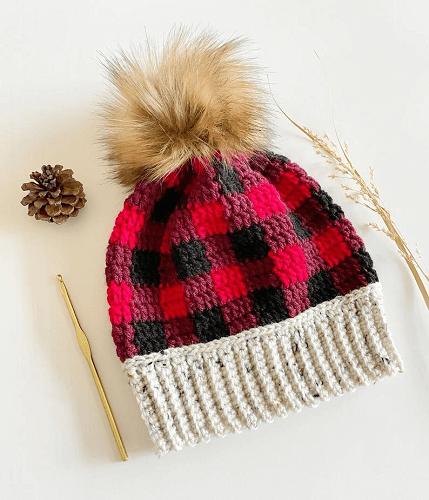 Autumn Plaid Beanie Crochet Pattern by Love And Stitch Designs