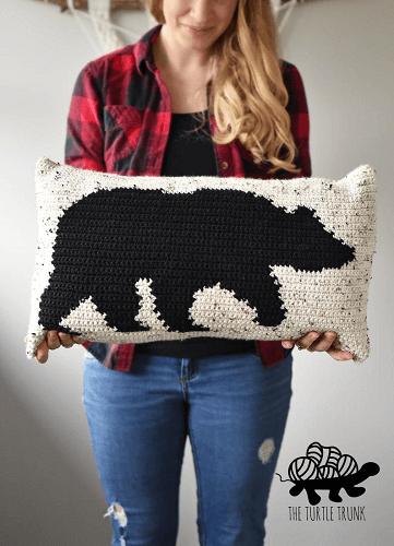 Bear Pillow Crochet Pattern by The Turtle Trunk
