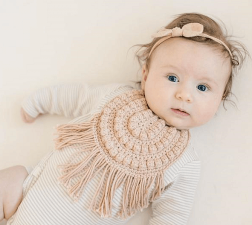 Bitty Boho Baby Bib Crochet Pattern by A Crafty Concept