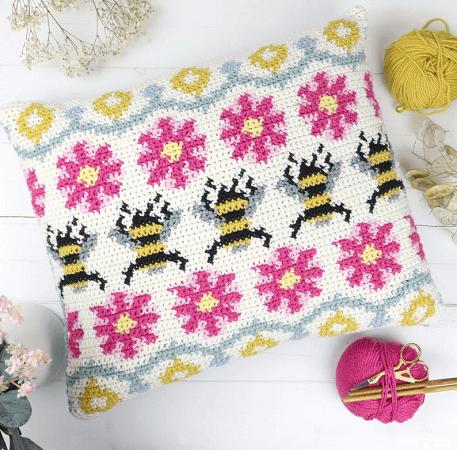Busy Bee Fair Isle Crochet Pillow Pattern by Little Doolally