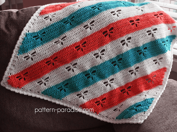 C2C Crochet Dragonfly Throw Blanket Pattern by Pattern Paradise