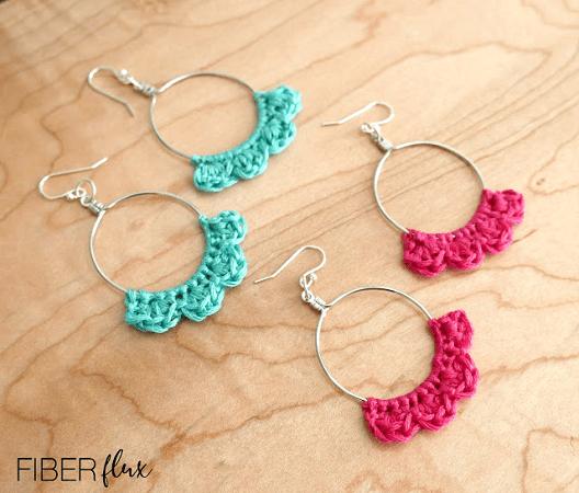 Caribbean Wave Hoop Earrings Free Crochet Pattern by Fiber Flux