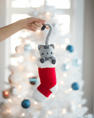 Chester, the Christmas Cat Amigurumi Pattern by All About Ami
