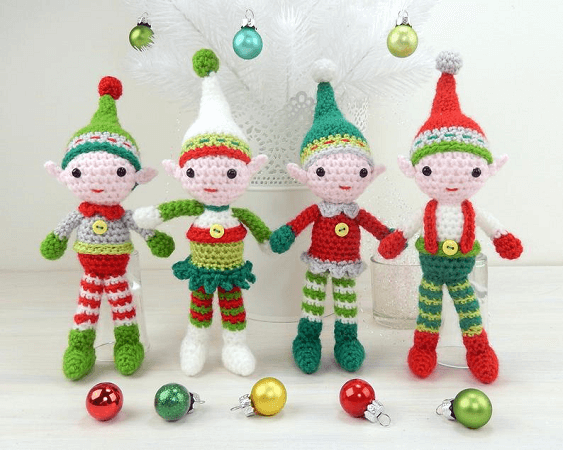 Christmas Elf Quartet Amigurumi Crochet Pattern by Moji Moji Design