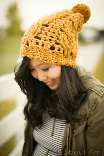 Chunky Cabled Slouchy Beanie Crochet Pattern by All About Ami