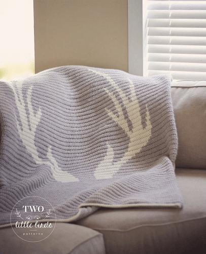 Crochet Antler Blanket Pattern by TLB Patterns