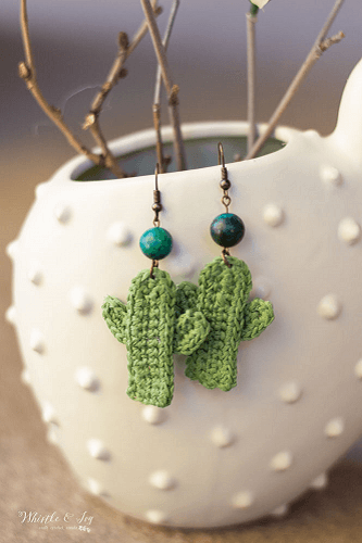 Crochet Cactus Earrings Pattern by Whistle And Ivy