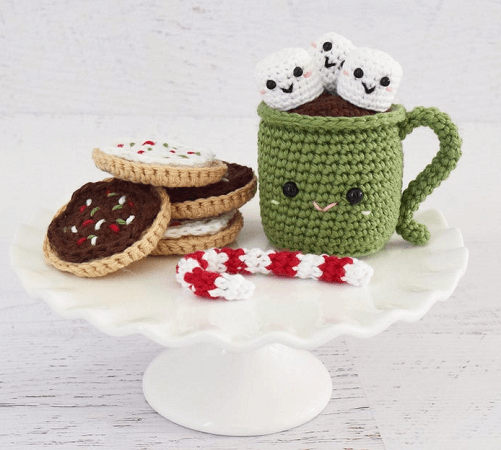 Crochet Christmas Amigurumi Food Pattern by Yarn Blossom Boutique
