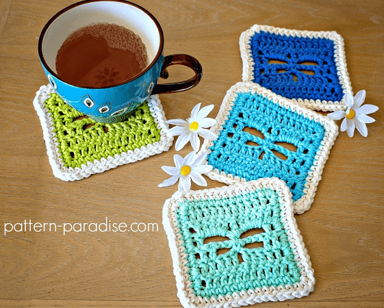 Crochet Dragonfly Coasters Pattern by Pattern Paradise
