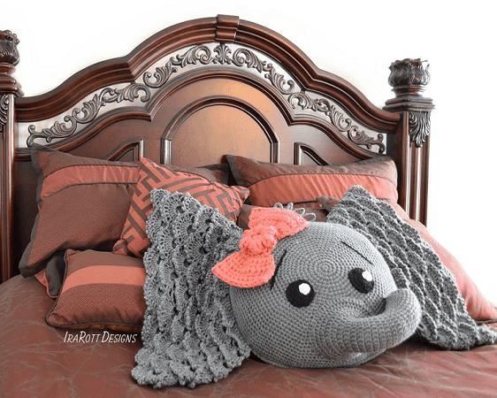 Crochet Elephant Pillow Pattern by Ira Rott Patterns