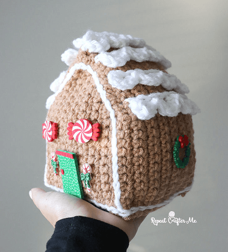 Crochet Gingerbread House Pattern by Repeat Crafter Me