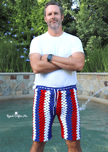 Crochet Granny Stripe Shorts For Men Pattern by Repeat Crafter Me