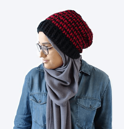 Crochet Houndstooth Beanie Pattern by The Blue Elephants
