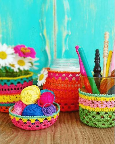 Crochet Jar Cozy Pattern by The Little Bee NZ