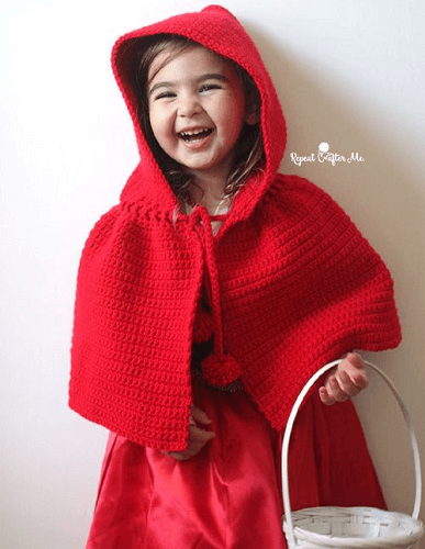 Crochet Little Red Riding Hood Cape Pattern by Repeat Crafter Me