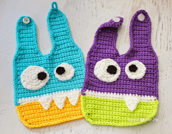 Crochet Monster Baby Bib Pattern by Repeat Crafter Me