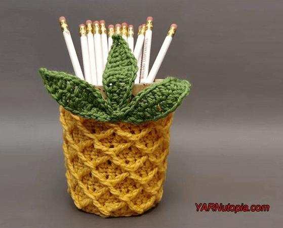 Crochet Pineapple Jar Cozy Pattern by Yarnutopia