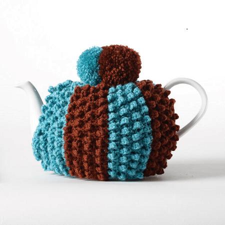 Crochet Popcorn Tea Cozy Pattern by Yarnspirations