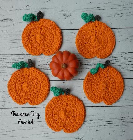 Coasters Crochet Pumpkin Pattern by Traverse Bay Crochet