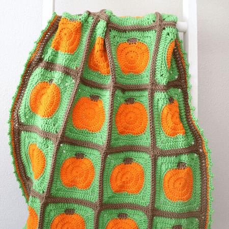 Crochet Pumpkin Patch Blanket Pattern by Red Heart
