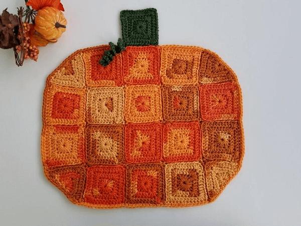 Crochet Pumpkin Placemat Pattern by Highland Hickory Designs
