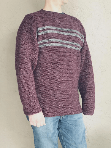 Crochet Simple Striped Men's Sweater Pattern by Christa Co Design