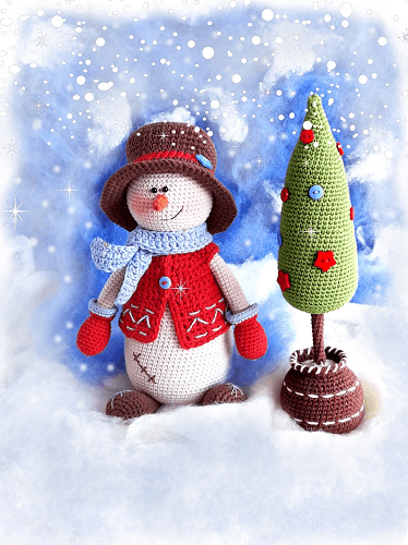 Crochet Snowman Amigurumi With Christmas Tree Pattern by Knit A Miracle