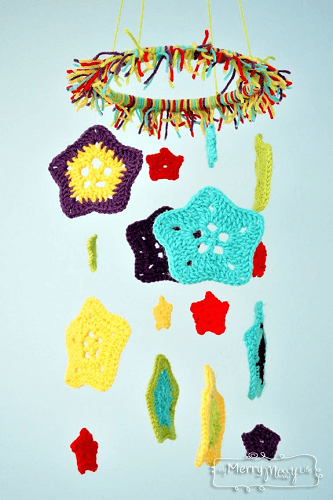 Crochet Star Baby Mobile Pattern by My Merry Messy Life