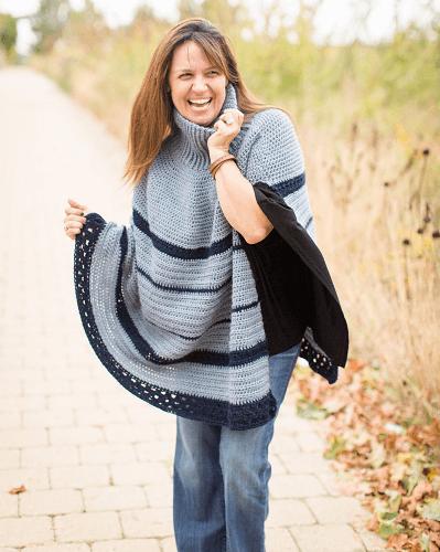 Crochet Turtleneck Cape Pattern by Stitch And Hustle