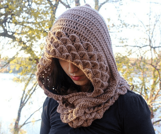 Crocodile Stitch Hooded Cowl Crochet Pattern by Bonita Patterns