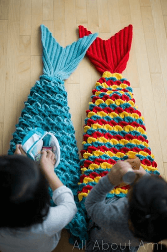 Crocodile Stitch Mermaid Tail Blanket Crochet Pattern by All About Ami