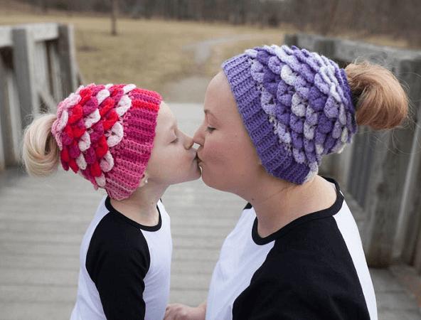 Crocodile Stitch Messy Bun Hat Crochet Pattern by Bonita Patterns