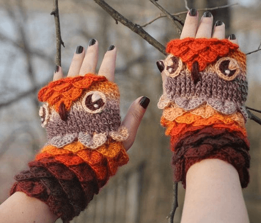Crocodile Stitch Owl Gloves Crochet Pattern by Bonita Patterns