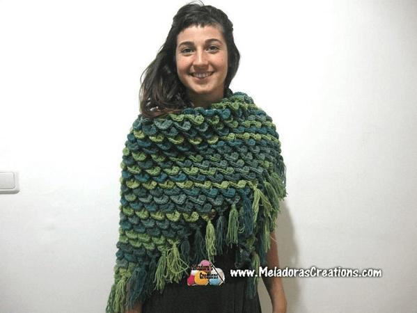 Crocodile Stitch Shawl Crochet Pattern by Meladoras Creation PDF