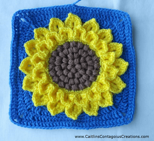 Crocodile Stitch Sunflower Square Crochet Pattern by Creations By Caitlin J