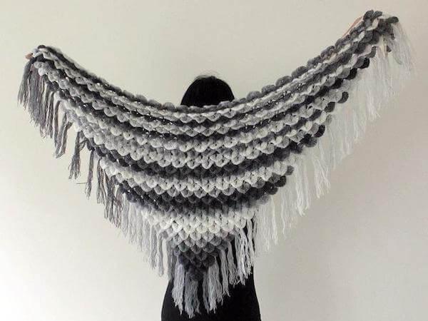 Crocodile Stitch Triangle Shawl Crochet Pattern by Bonita Patterns