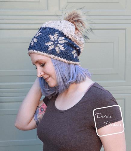 Dancing Snowflakes Beanie Free Crochet Pattern by Divine Debris