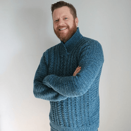 Dapper Dad Cabled Sweater Crochet Pattern by MJs Off The Hook Designs