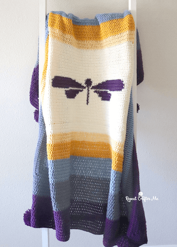 Dragonfly Crochet Blanket Pattern by Repeat Crafter Me