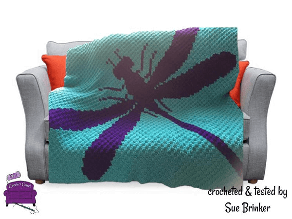 Dragonfly Silhouette Afghan Crochet Pattern by Crochet Couch