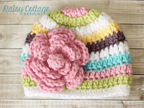 Easy Striped Beanie Crochet Pattern by Daisy Cottage Designs