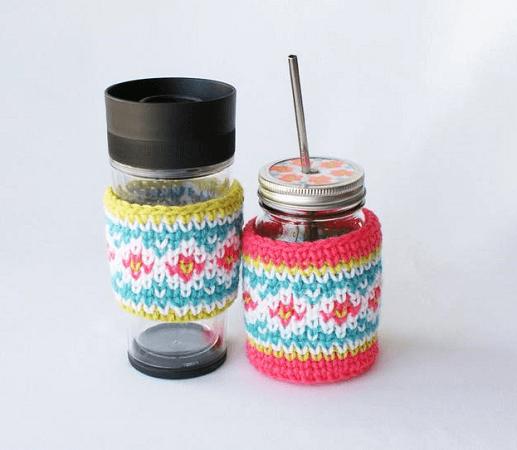 Fair Isle Jar Cozies Crochet Pattern by Midknits