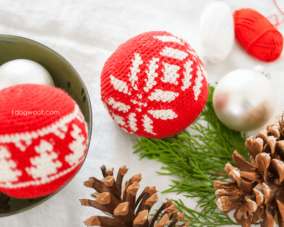 Fair Isle Snowflake Ornament Crochet Pattern by 1 Dog Woof
