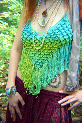 Feather And Scale Halter Top Crochet Pattern by Morale Fiber