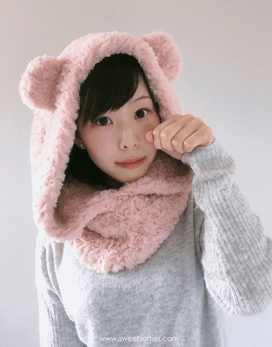 Fluffy Hooded Bear Cowl Crochet Pattern by Sweet Softies