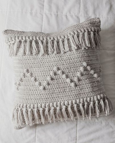 Funky Fringe Pillow Crochet Pattern by Megmade With Love