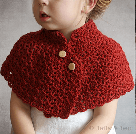 Girl's Capelet Crochet Pattern by Stitch And Whimsy