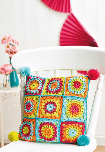 Granny Square Cushion Crochet Pattern by Susie Johns